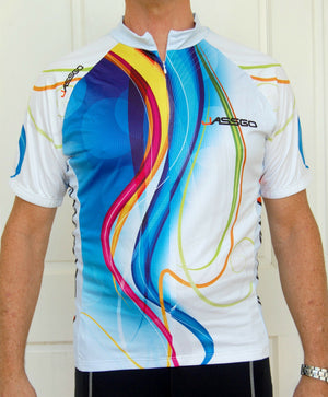 Unisex Jersey (White with Multicoloured print)