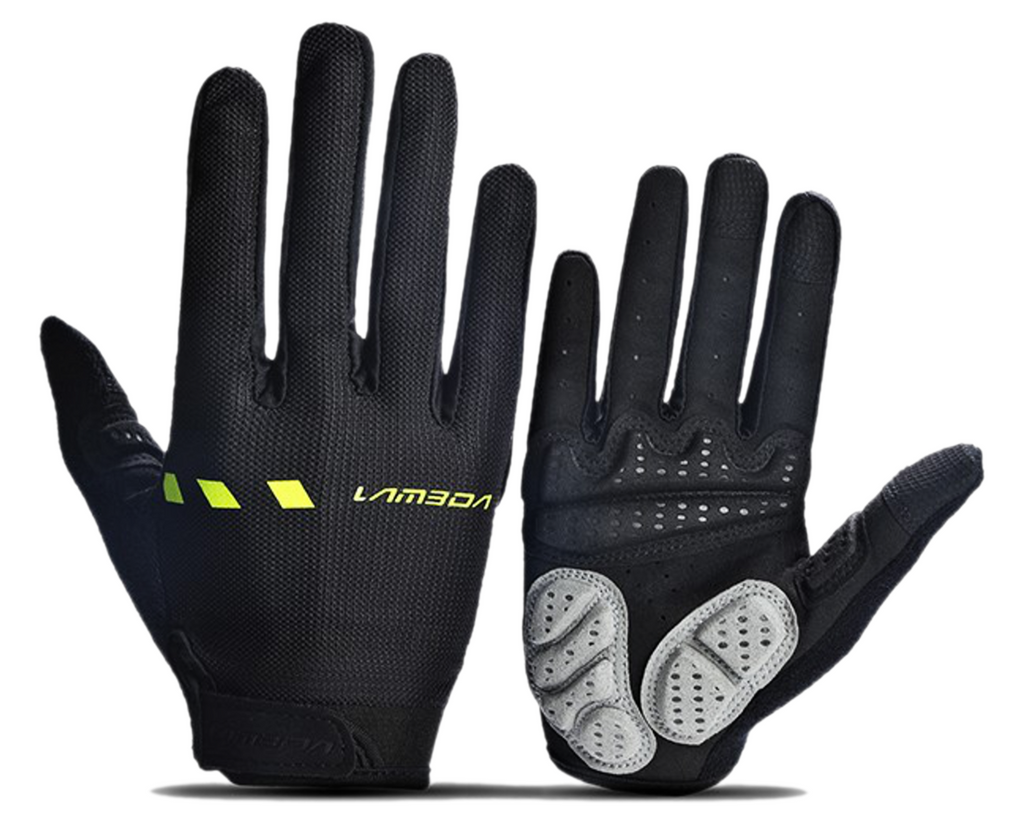 Lambda/Lameda Cycling Bike Gloves Long Finger Black & Lime Green  size S to 2XL