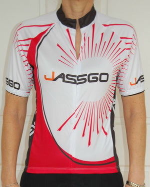 Unisex Jersey (White with Red & Black print)