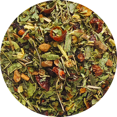 Adaptogen organic herbal tea with schisandra in teabag