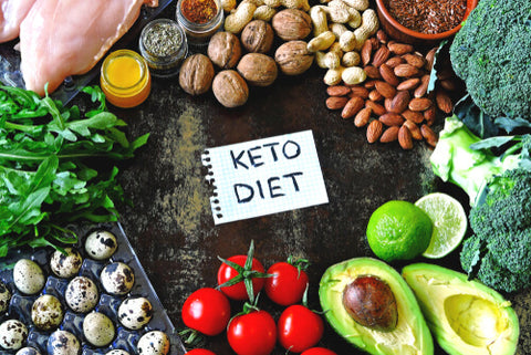 Vegetables with a note that says keto diet