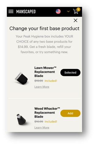 Click on the new product you would prefer to receive in your base product selector list