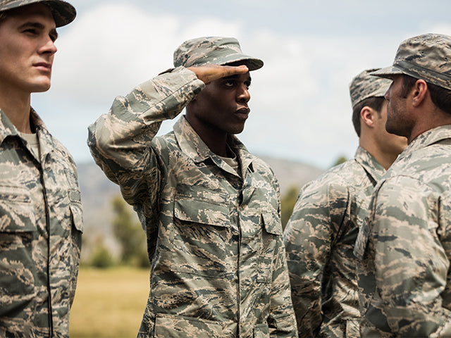 Soldier saluting to sergeant