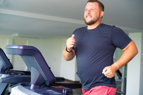 chubby man working out