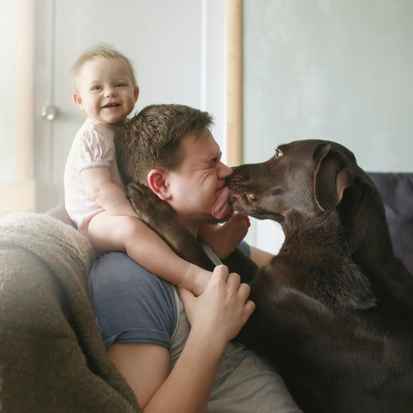 dad with baby and dog