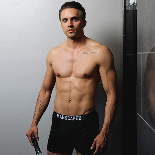 handsome fit man in manscaped boxers