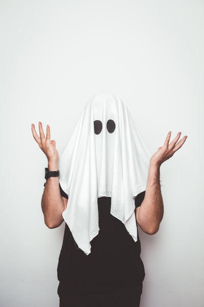 man in ghost costume