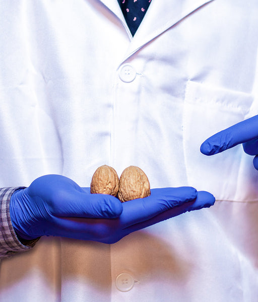 doctor pointing at nuts