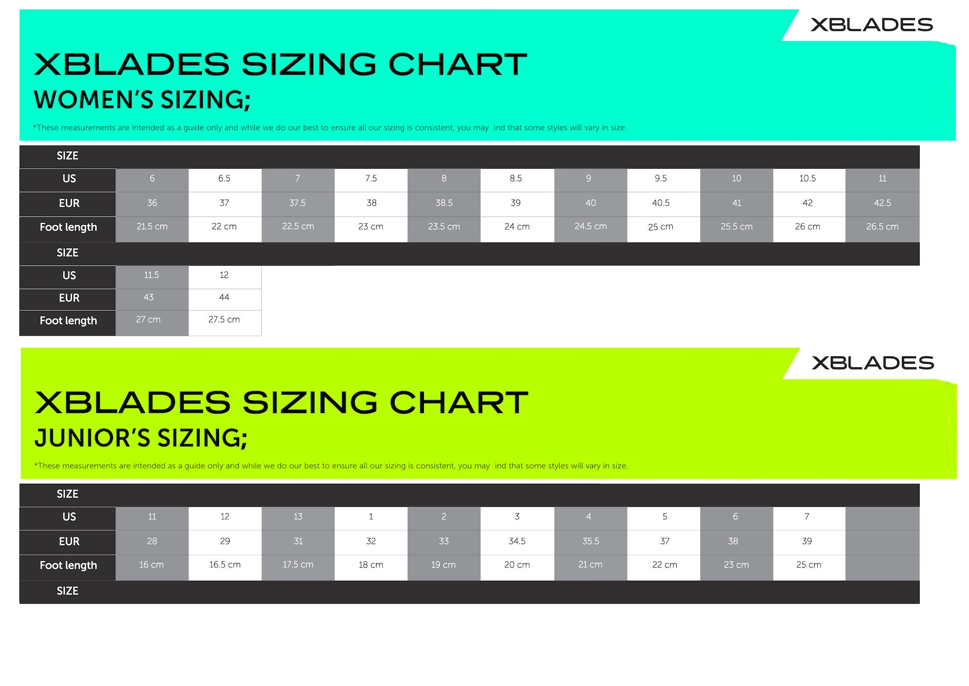88caef348743ce Footwear Sizing Guide – XBlades