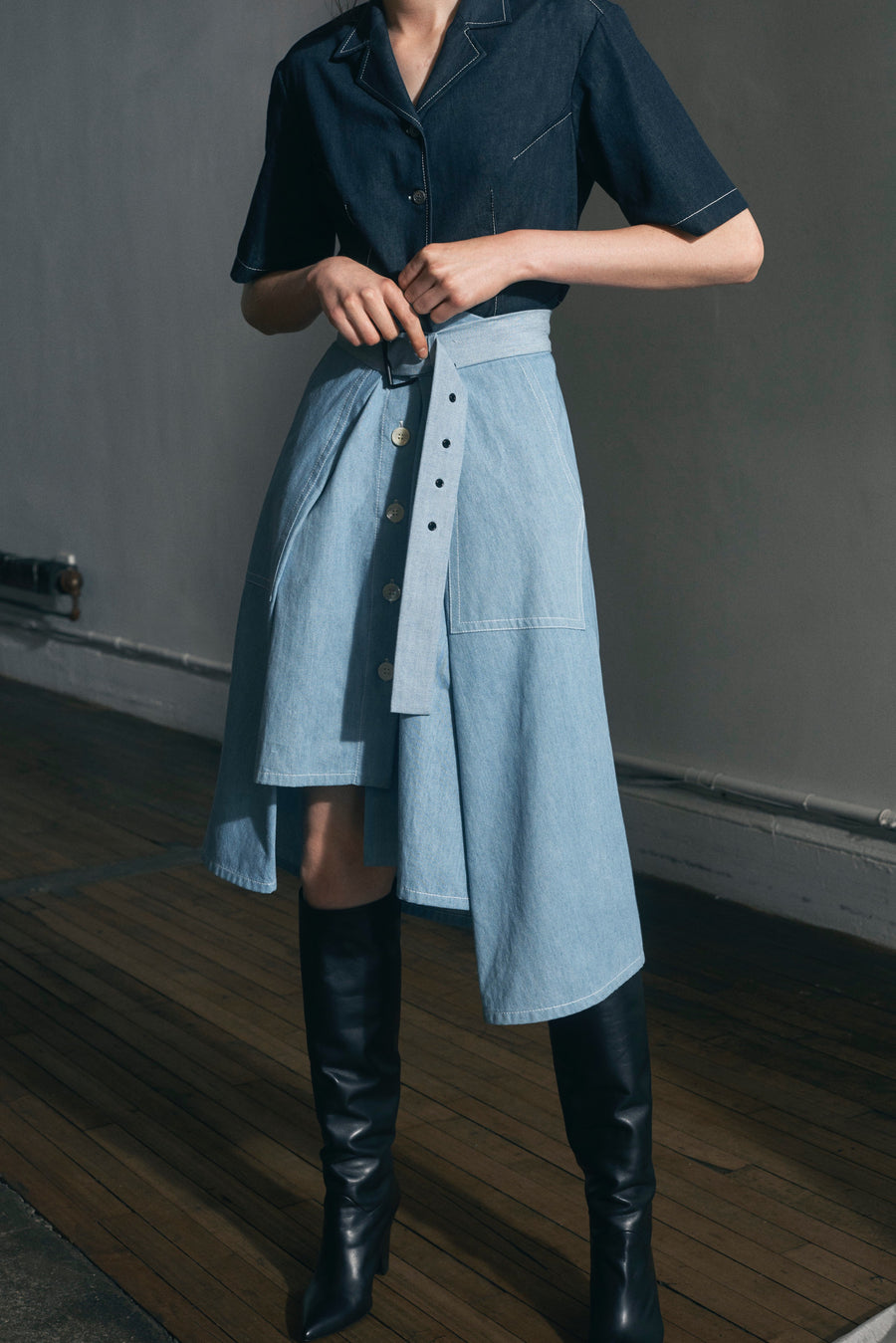 Asymmetric chambray skirt