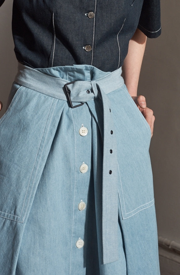 Chambray Asymmetric Skirt- Only 1 left!