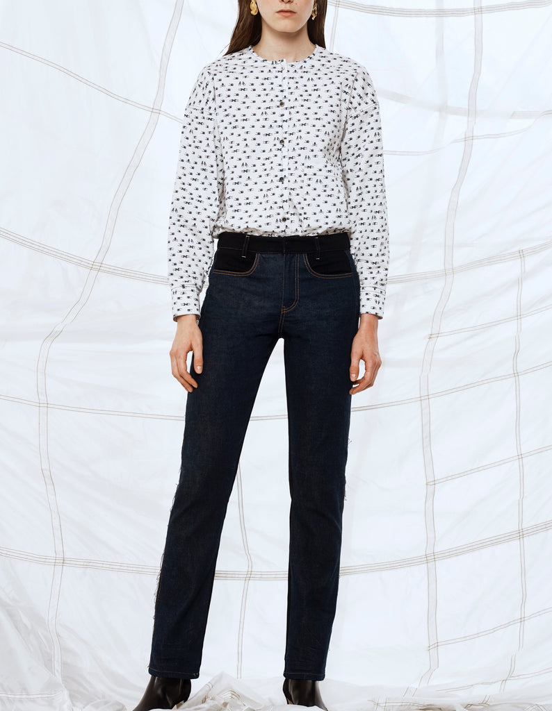 Mid Rise two tone straight leg jeans