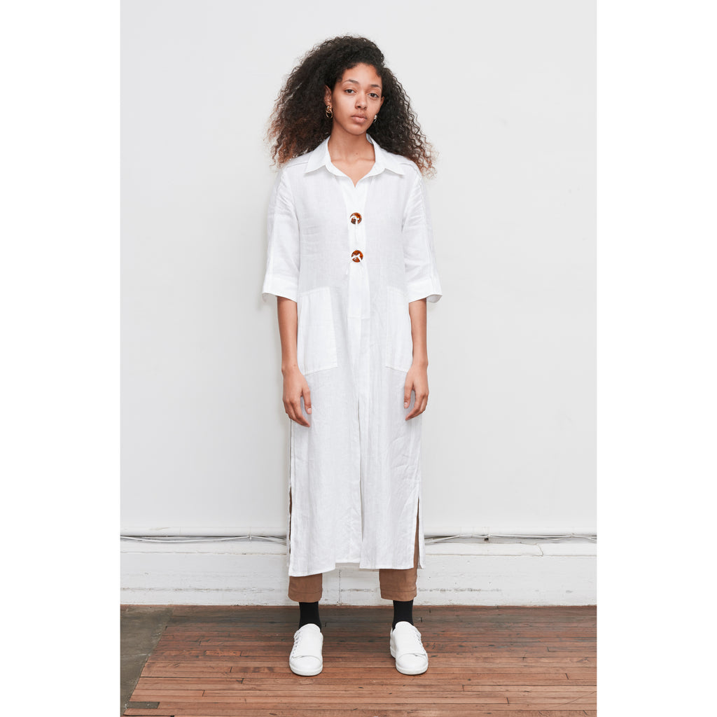 White Aloe linen Tunic Shirt