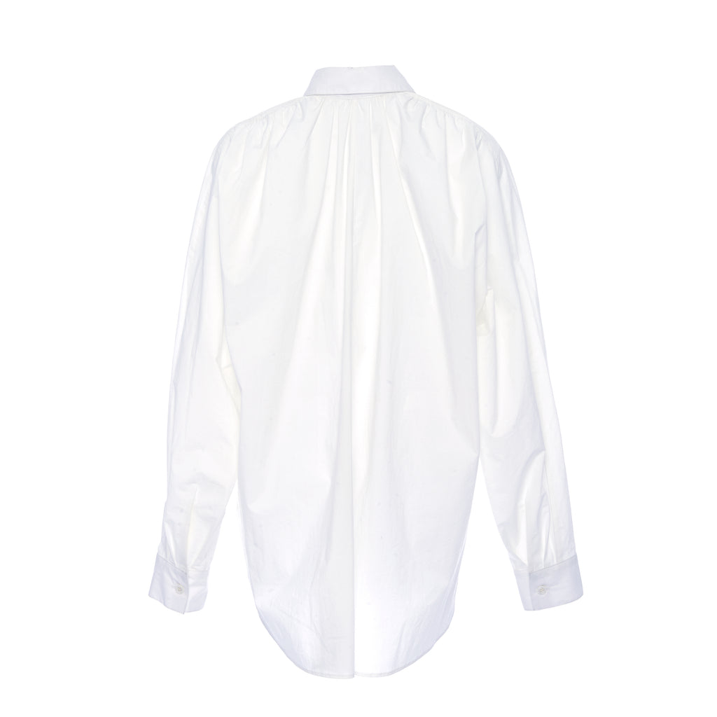 WHITE COTTON POCKET SHIRT