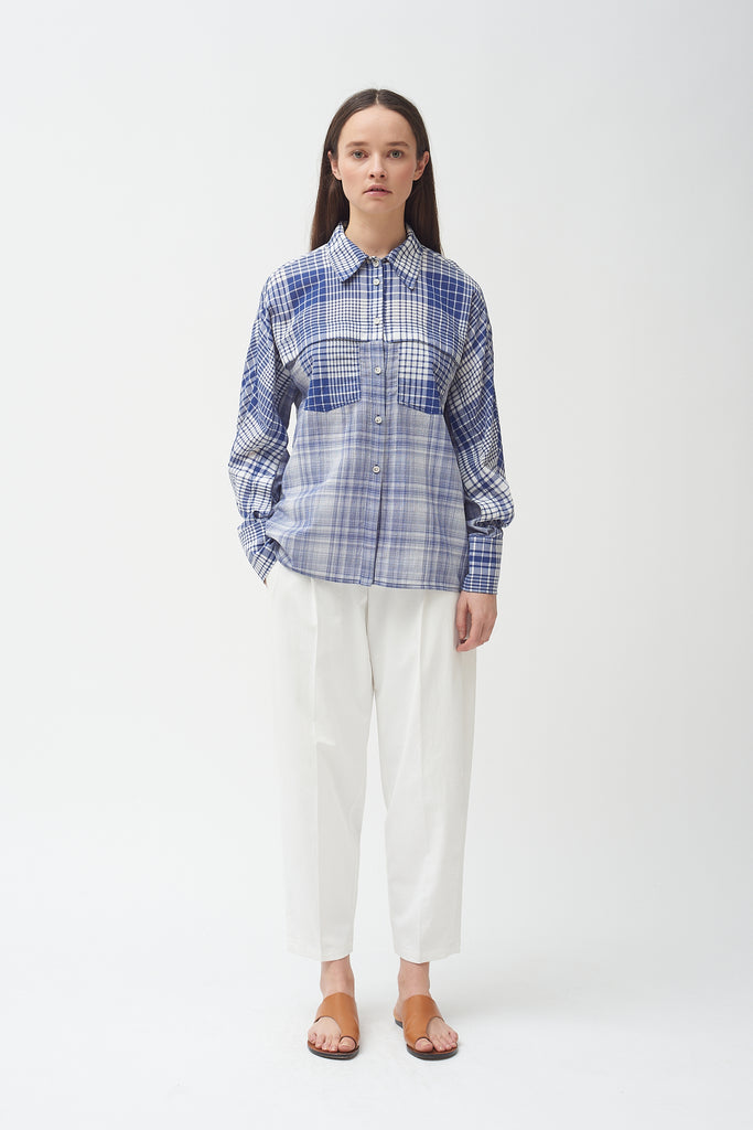Check Front Yoke Pocket Blouse-