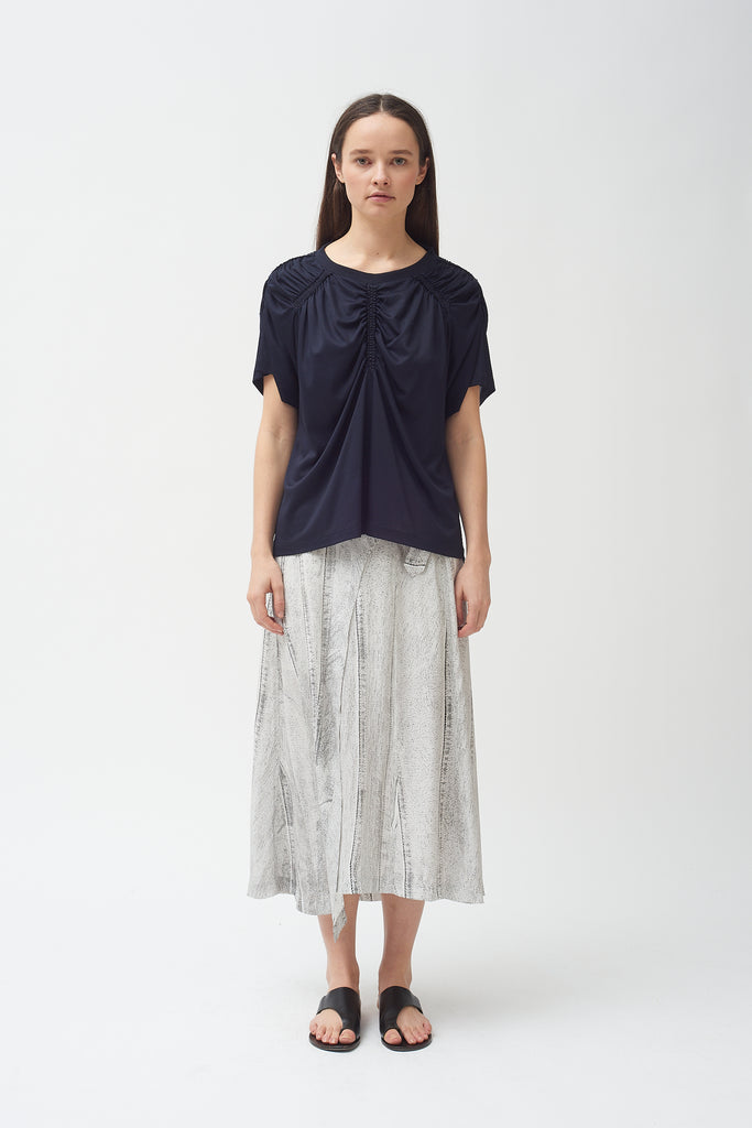 Modal Gathered T-Shirt in Navy