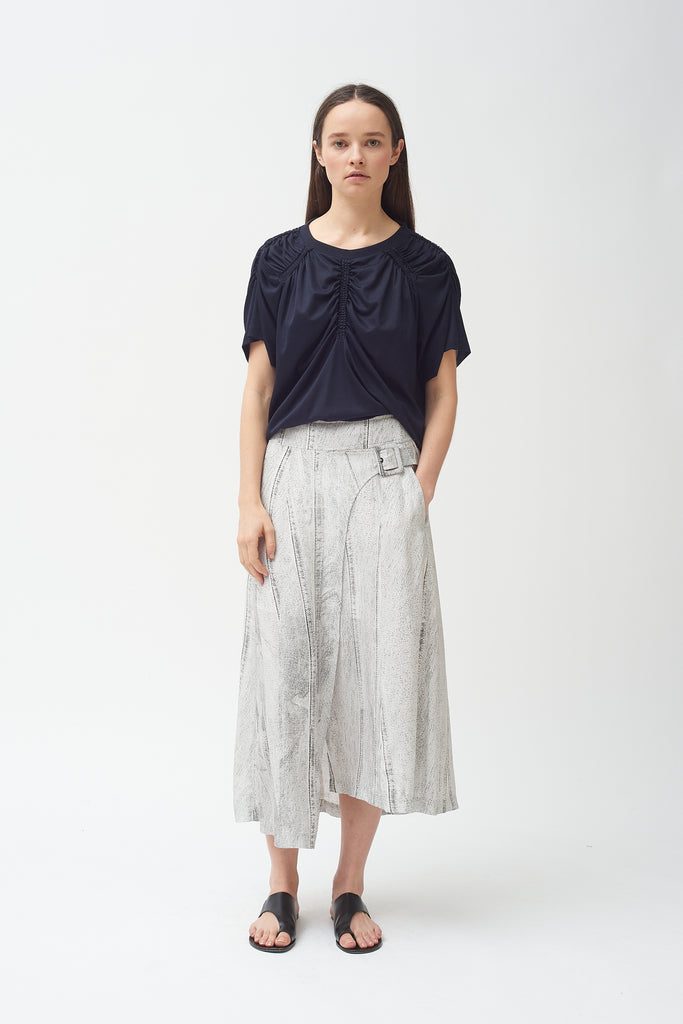 Seamed Denim Print Side Buckle Skirt