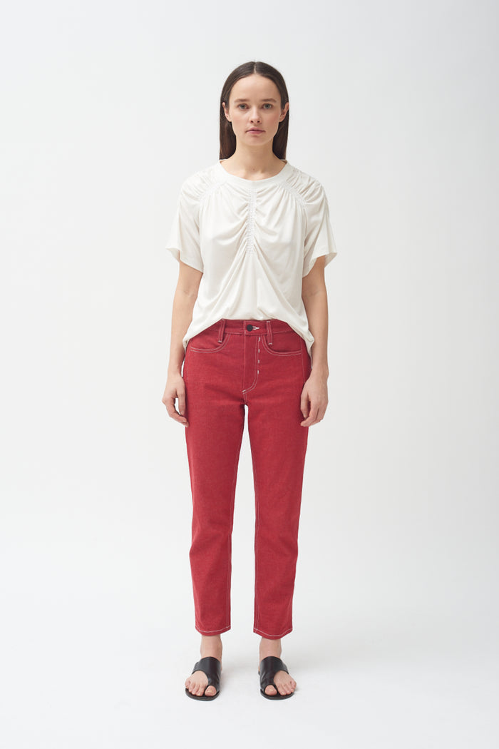 Red high waisted cropped jean