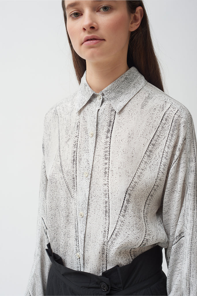Seamed Denim Print Shirt