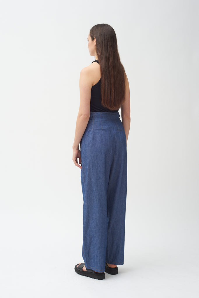 High waisted chambray pants