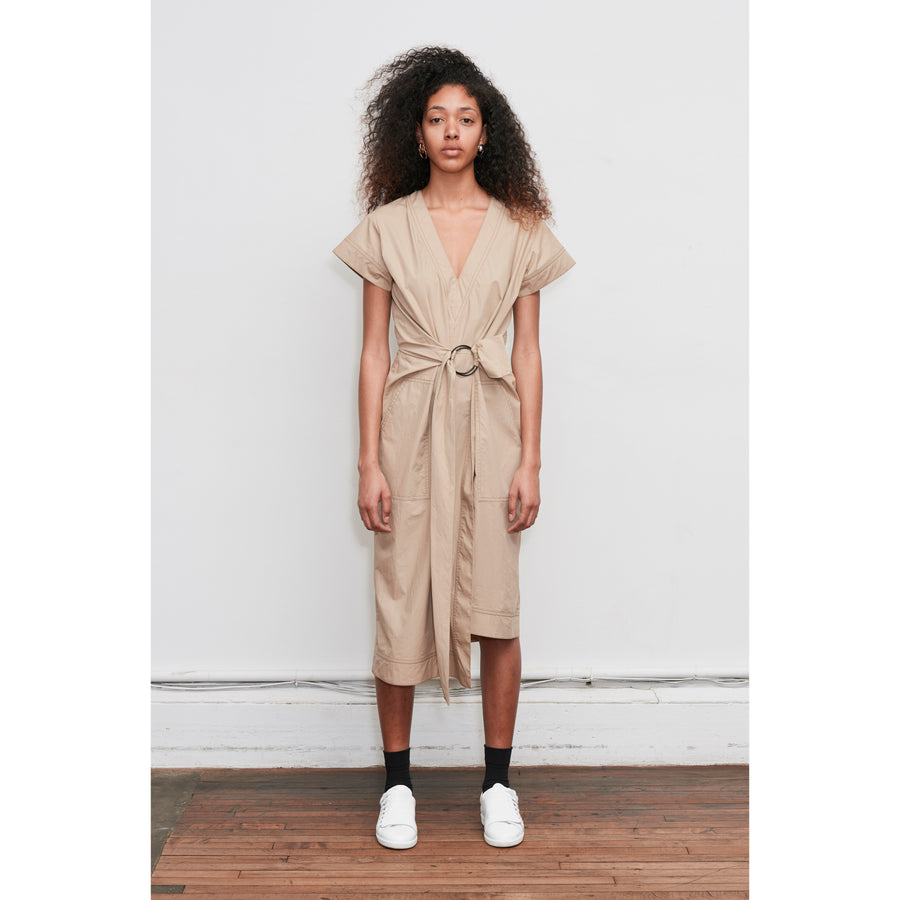 Cotton poplin Khaki Tie Wrap dress