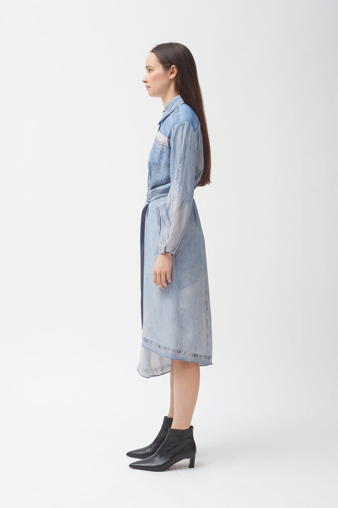 Silk Denim Print Dress