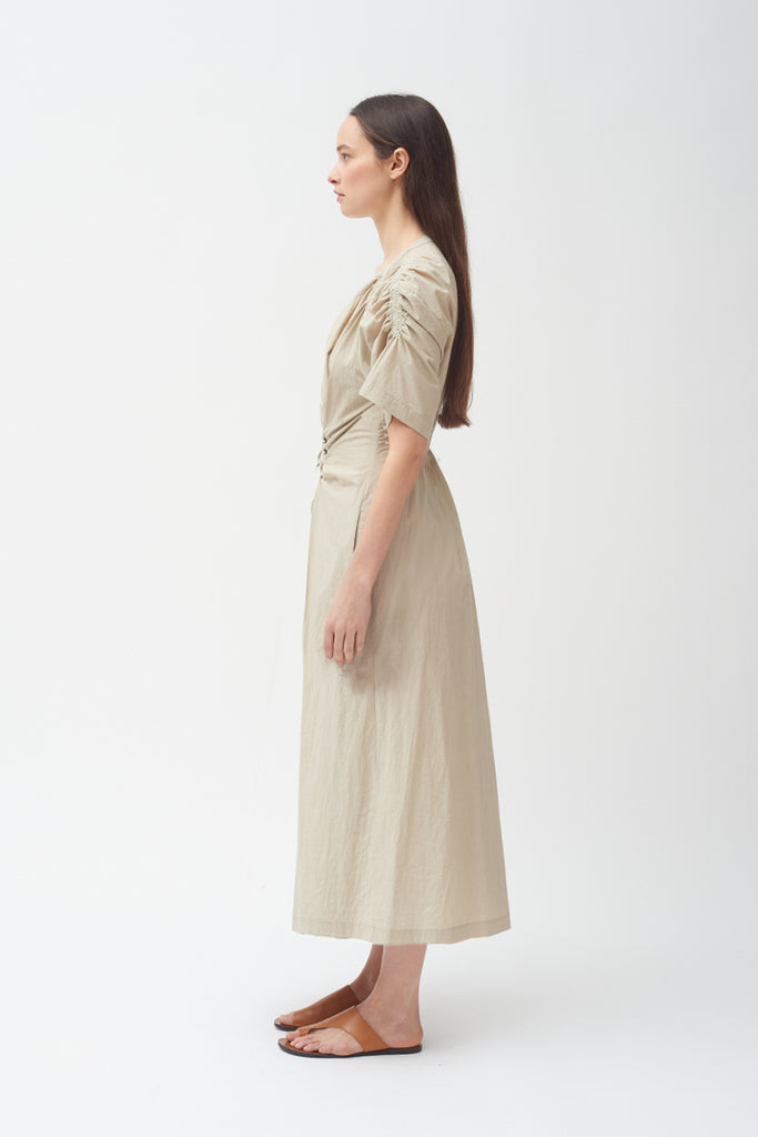 Gathered Tie Dress - Khaki