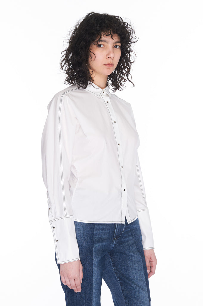 White Snap front shirt