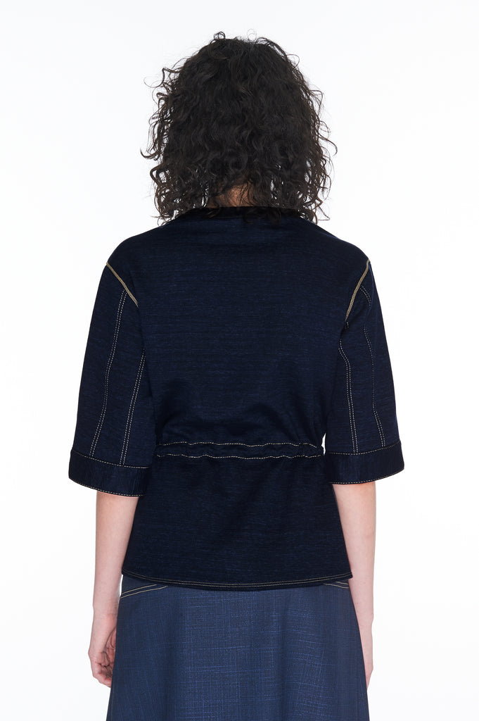 Navy Short-sleeved sweatshirt top