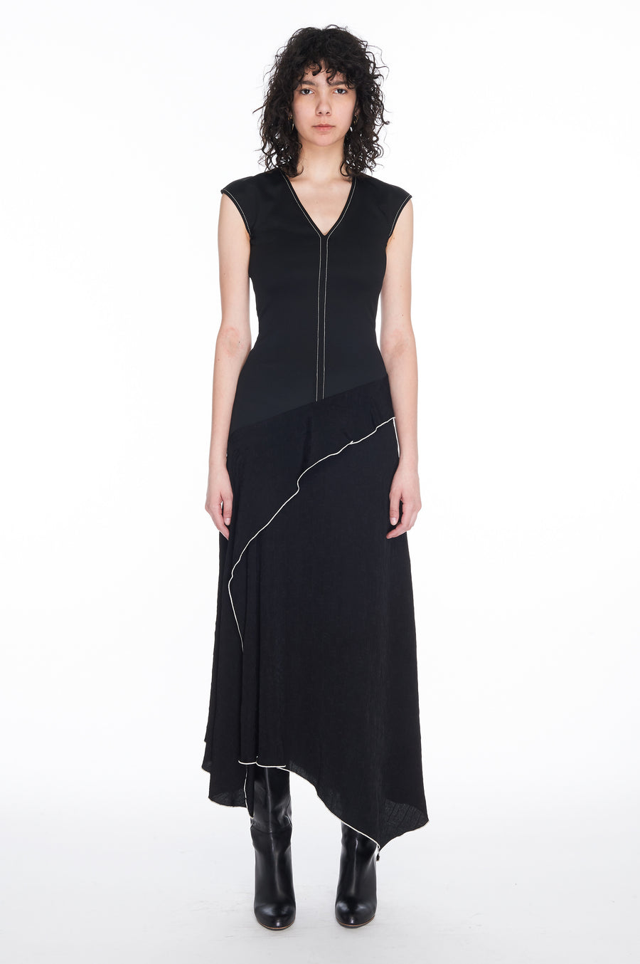 Black Textured viscose and jersey combo dress