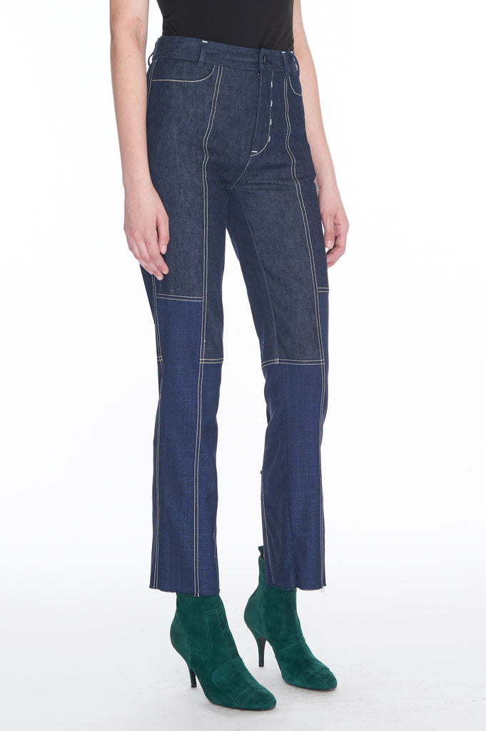 Blue Wool and silk denim combo pants