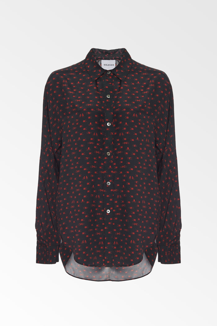Silk Charmeuse Black and Red Holding hands print shirt