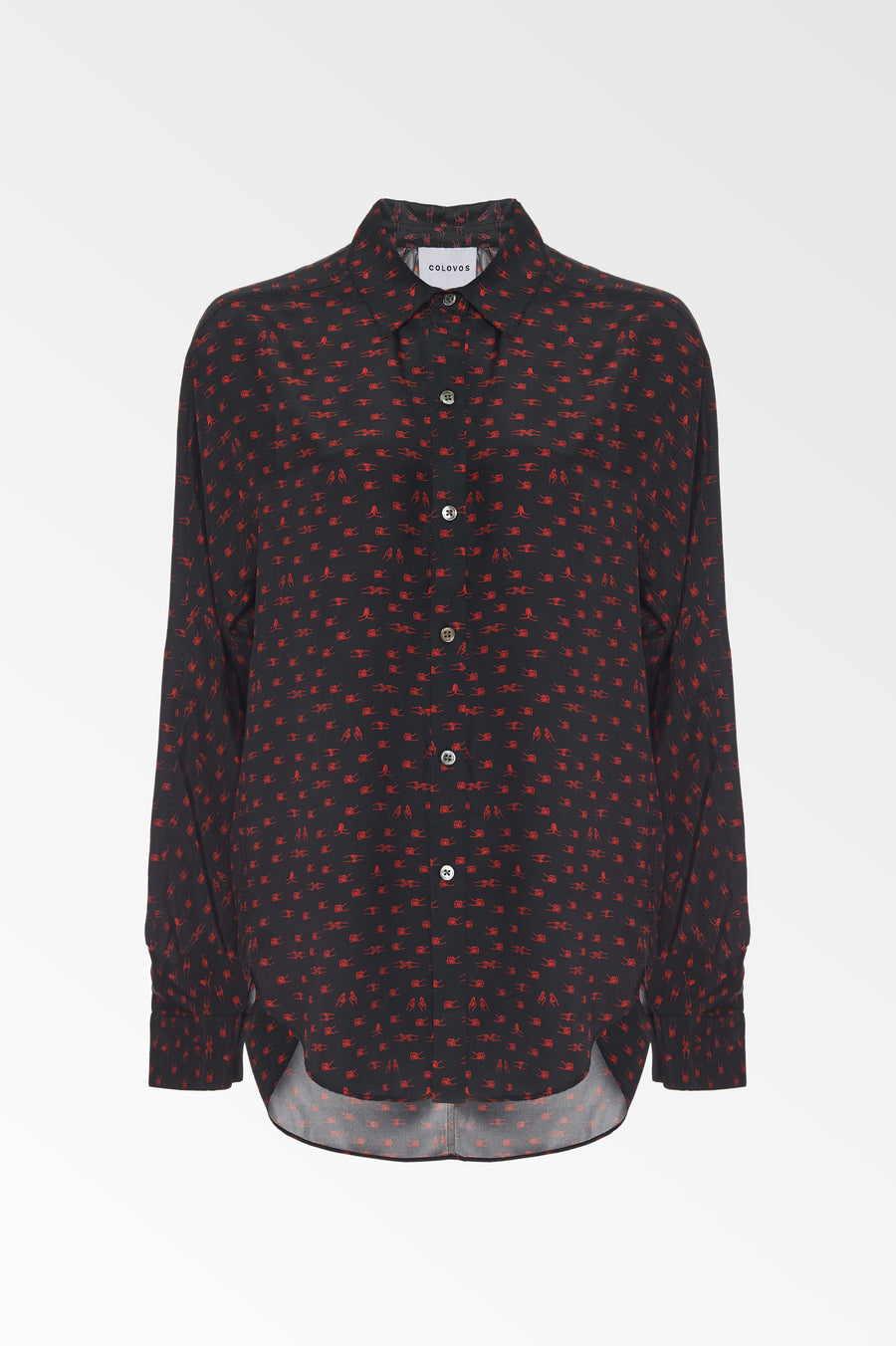 Silk Charmeuse Black and Red Holding hands print shirt- SALE