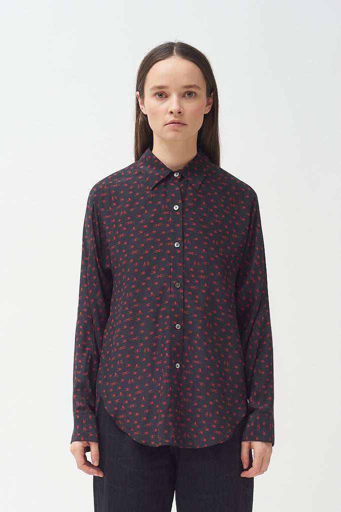 Silk Holding hands print shirt
