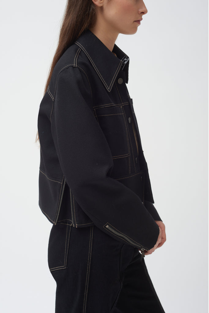 Black Cropped Pocket Wool Zip Jacket