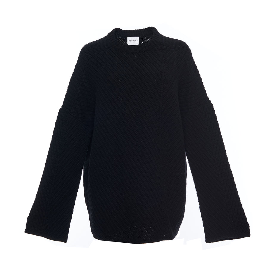 WIDE SLEEVE RIB SLOUCH SWEATER