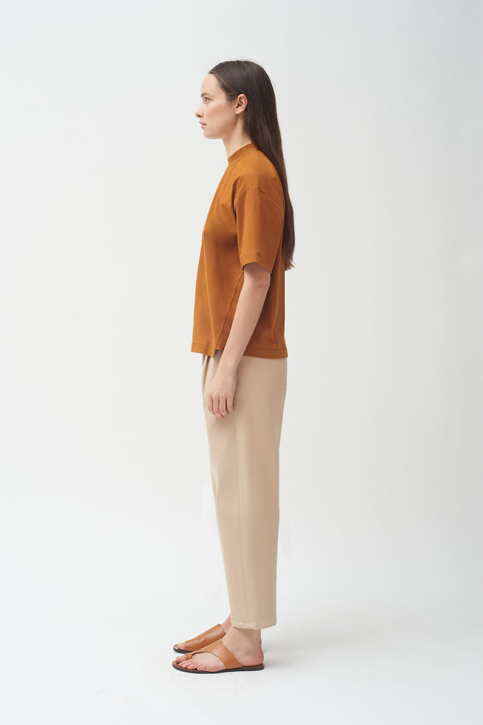 Copper cotton Mock neck T-shirt