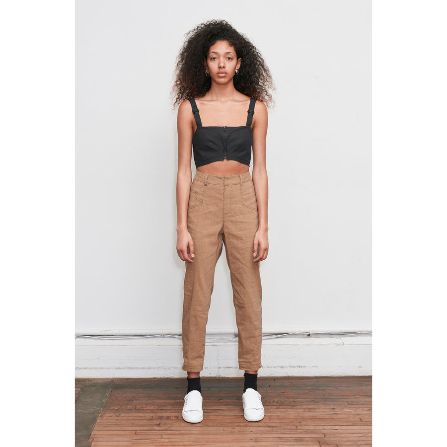 Tan Highwaisted Slim Pant