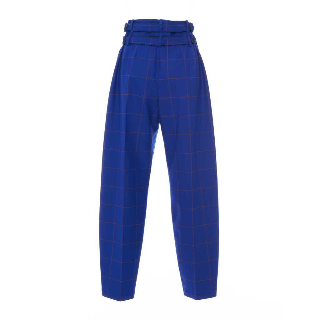 BLUE CHECK BUCKLE PANT