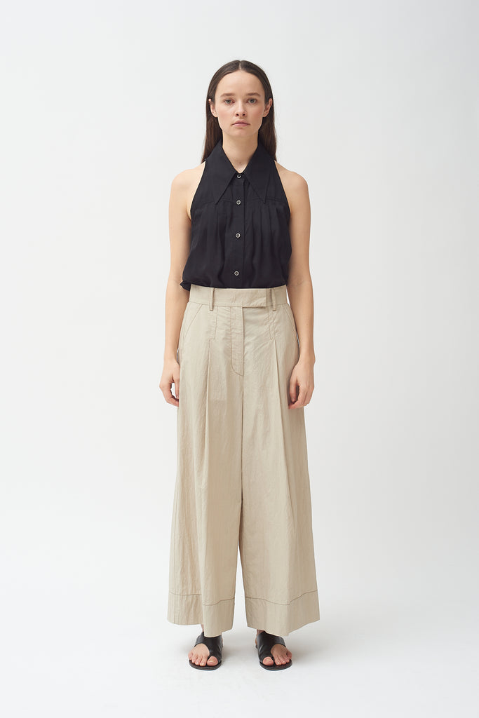 Wide Leg Pant - Khaki Cotton poplin -