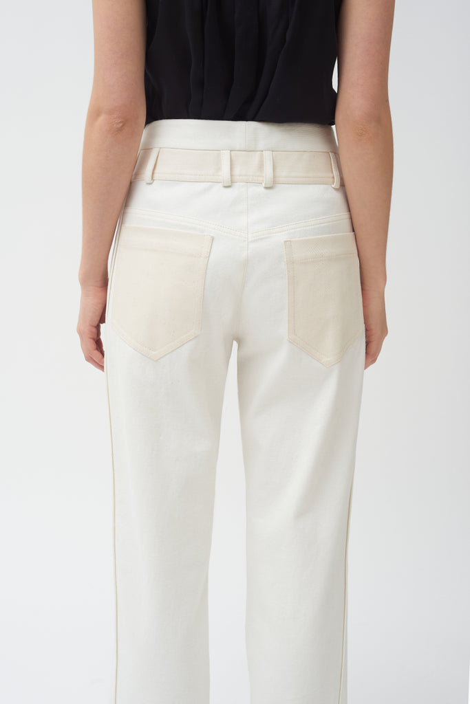 Side Panel Pant- White Jean