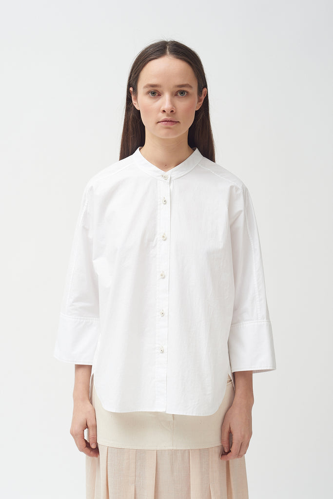 Cotton Poplin white 3/4 sleeve  cuff Shirt