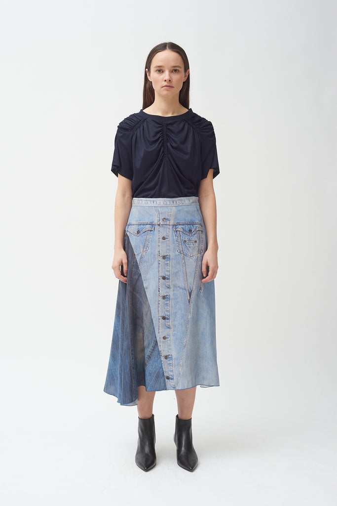 Silk denim print skirt