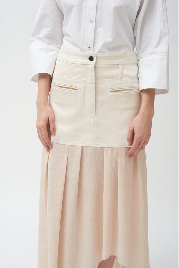 Denim Combo Asymmetric Skirt- ONLY A FEW LEFT