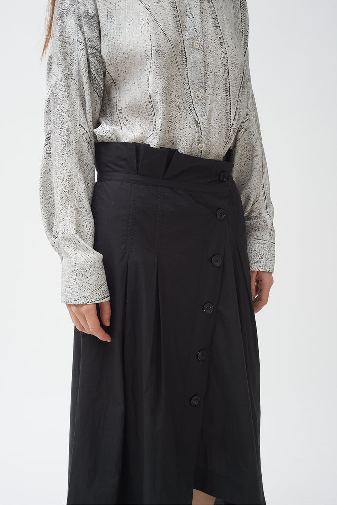 Button Down cotton poplin Asymmetric Skirt  only 1 left