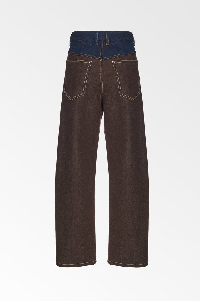 FRONT YOKE JEAN BROWN/BLUE-SALE