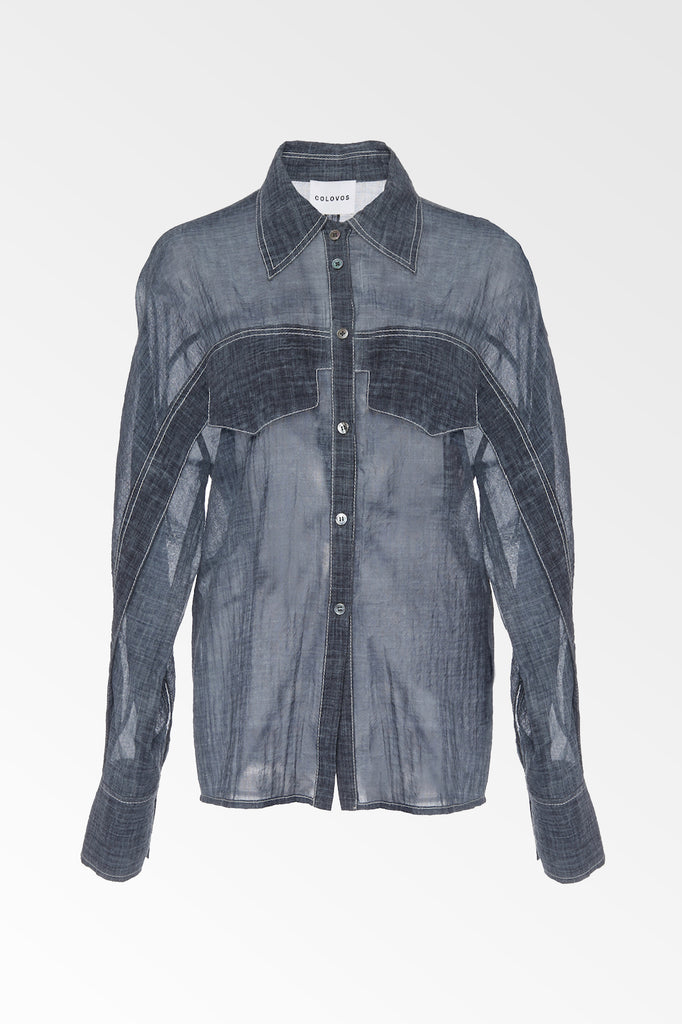 Cold Water Dye Indigo Wool Shirt - Colovos x Woolmark