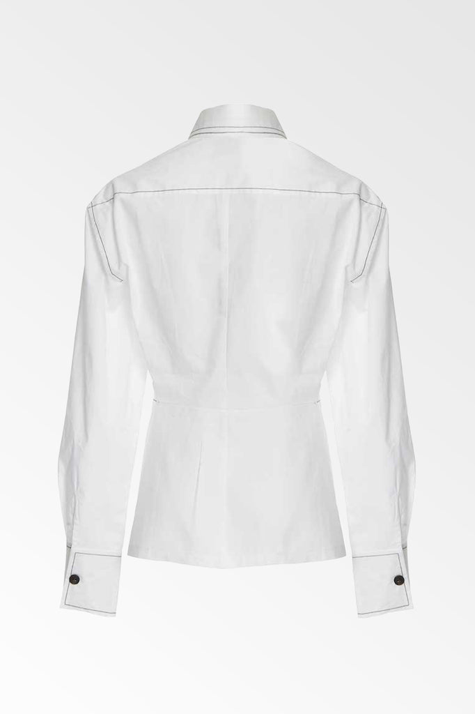 White cotton poplin dart front shirt- SALE