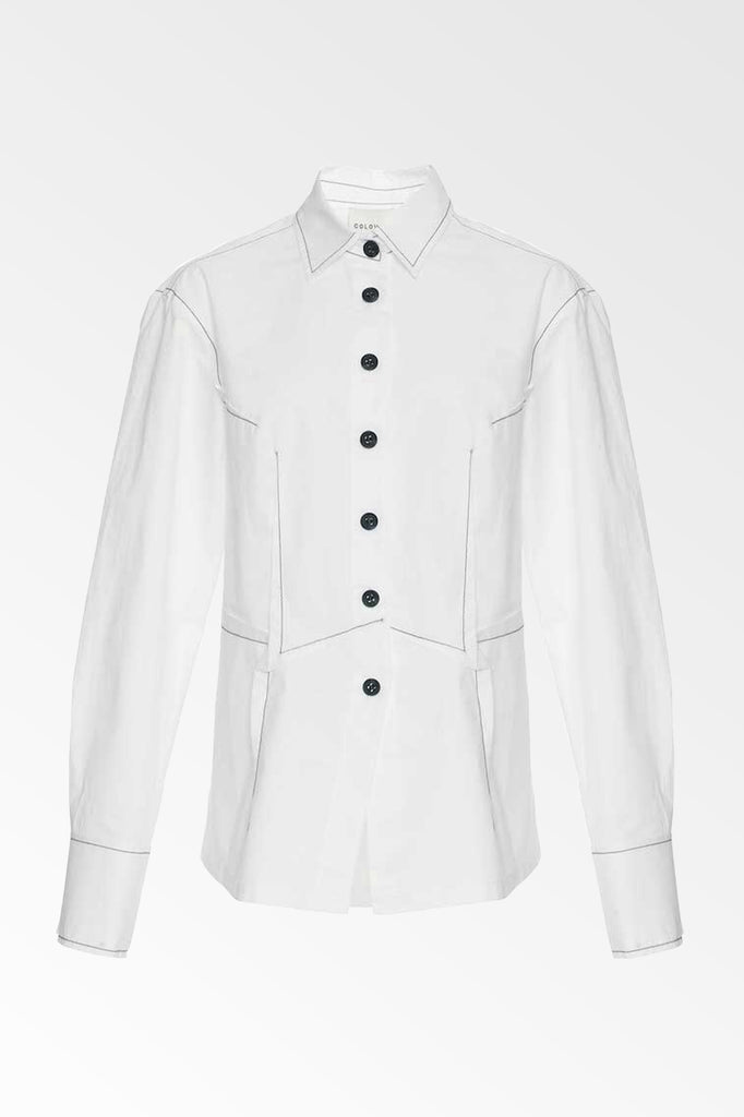 White cotton poplin dart front shirt