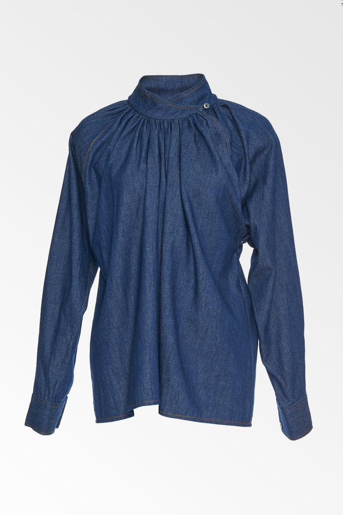Chambray High Neck top